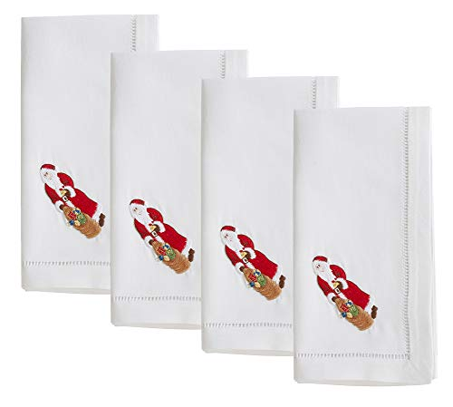 Fennco Styles Holiday Cotton Embroidered Santa 20 Inch Square Dinner Napkins, Set of 4 - White Festive Cloth Napkins for Dining Table, Christmas Parties & Home Decor