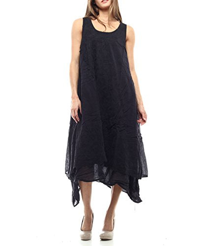 Styles I Love Women's Embroidered Layered Loose Fit Quality Cotton Asymmetrical Dress, Size M/L