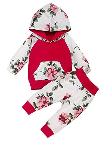 Styles I Love Baby Toddler Girls Flower Print Long Sleeve Front Pocket Hoodie and Pants 2pcs Cotton Outfit