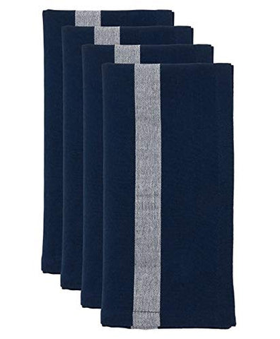 "Fennco Styles Banded Design Cotton Cloth Napkins 20"" W x 20"" L, Set of 4 - Striped Dinner Napkins for Home Décor, Dining Table, Banquet, Family Gathering, Everyday Use, and Special Occasion"