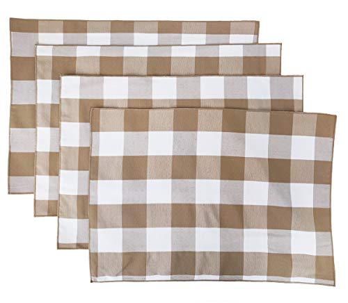 "Fennco Styles Buffalo Check Double Layers Reversible Placemats 14"" W x 20"" L, Set of 4 - Handmade in USA"