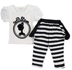 StylesILove Kid Girls Princess Print White Blouse and Black White Stripes Pants 2pcs Spring Summer Outfit