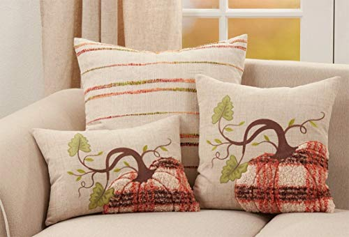 Fennco Styles Harvest Plaid Pumpkin Decorative Throw Pillow