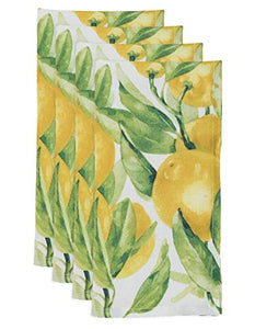 Fennco Styles Lemon Printed Cloth Napkins 20 x 20 Inch, Set of 4 for Home Décor, Banquets and Special Occasions