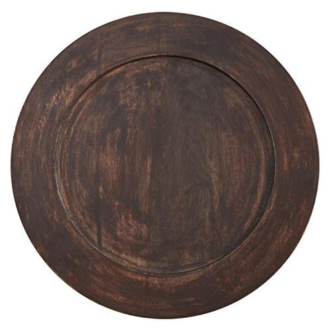 "Fennco Styles Classic Wood Grain Charger Plates 13"" Round, Set of 4 – Brown Dark Mango Wood Charger Plates for Banquets, Family Dinners, Special Events and Home Décor"