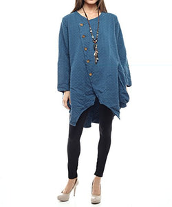 Styles I Love Women's Patterned Buttons Cotton Jacket with Front Pocket, Size M/L (Blue)