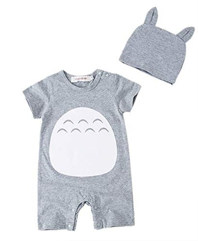 Styles I Love Unisex Baby Boy and Girl Grey Short Sleeve Cotton Romper with Hat 2pcs Set Summer Jumpsuit Outfit