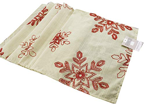 Fennco Styles Holiday Nivalis Collection Snowflake Design Christmas Decorative Tablecloth