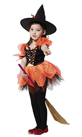 stylesilove Adorable Little Girls Witch Halloween Costume Themed Party Cosplay Outfit