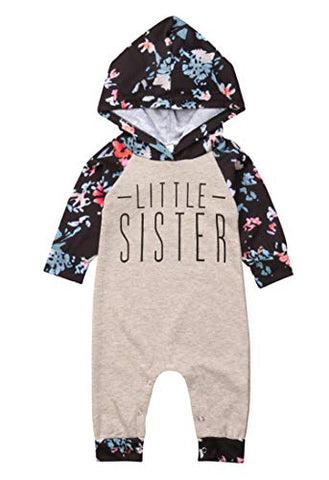 stylesilove Infant Toddler Floral Little Sister Little Girl Cotton Hooded Romper Cotton Jumpsuit