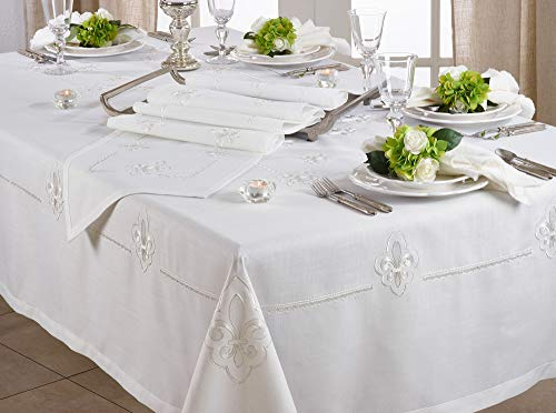 Fennco Styles Fabia Collection Elegant Embroidered Fleur de Lis 69 x 180 Inch Table Cloth – Ivory Oblong Tablecloth for Dinner Party, Banquest, Special Events and Home Décor
