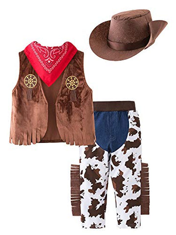 stylesilove Kid Boys Halloween Cowboy Costume 4pcs Set Cosplay Event Dress Up Parties Stage Performance Outfits