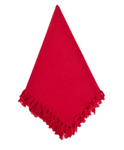 Fennco Styles Lizette Fringed Festive Cotton Napkins 20-inch Square, Set of 4 (Red)