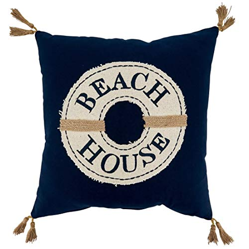 Fennco Styles Beach House Tasseled Design 100% Cotton Decorative Filled Throw Pillow – 18-inch Square Navy Blue Cushion for Couch, Sofa, Bedroom, Office and Living Room Décor