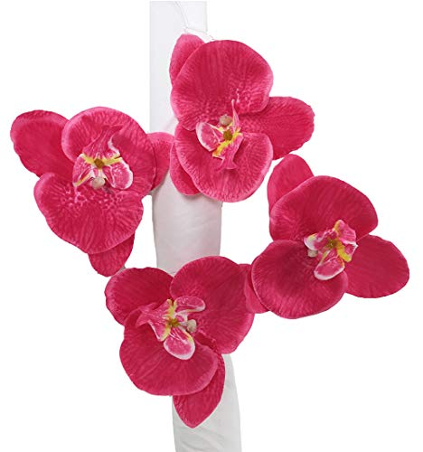 Fennco Styles Handmade Orchid Flower Decorative Napkin Rings, Set of 4