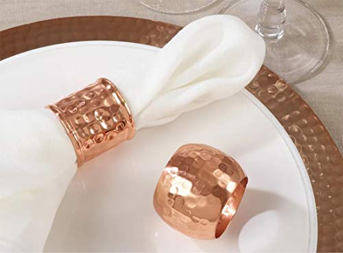 Fennco Styles Moscow Mule Hammered Design Metal Napkin Rings, Set of 4