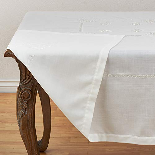 Fennco Styles Fabia Collection Elegant Embroidered Fleur de Lis 69 Inch Table Cloth – Ivory Square Tablecloth for Dinner Party, Banquest, Special Events and Home Décor