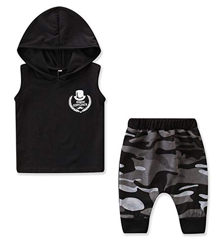 StylesILove Baby Boys Black Hooded Tank Top and Camouflage Joggers 2pcs Cotton Outfit