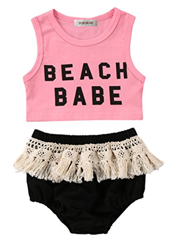 stylesilove Infant Baby Girl Pink Beach Baby Corp Top and Crochet Lace Fringed Cotton Bloomer 2 pcs Set