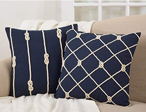 Fennco Styles Corda Di Mare Collection Nautical Rope 100% Pure Cotton 20 x 20 Inch Throw Pillow with Case & Insert - Navy Blue Accent Pillow for Couch, Bedroom and Living Room Décor