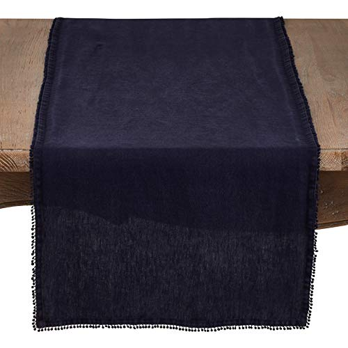 "Fennco Styles Pomponin Collection Pompom Design Table Runner 100% Linen (16""x72"" Runner, Midnight Blue)"