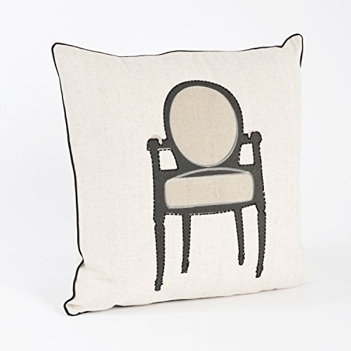 "Printed and Stitched Chaise Design Down Filled Decorative Throw Pillow, 18""x18"" (Chair)"