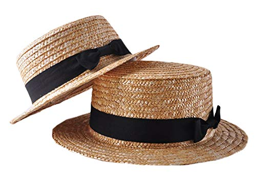 Styles I Love Boater Straw Summer Hat Fedora Sun Hat Mom and Daughter Matching Beach Cap