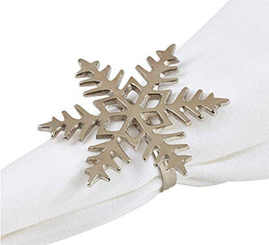 Fennco Styles Decorative Snowflake Napkin Rings for Holiday, Christmas, New Year Table or Party, Set of 4, Silver