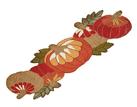 Fennco Styles Contemporary Beaded Pumpkins 13 x 35 Inch Table Runner – Orange Table Runner for Thanksgiving Dinner, Family Gathering, Special Events and Home Décor