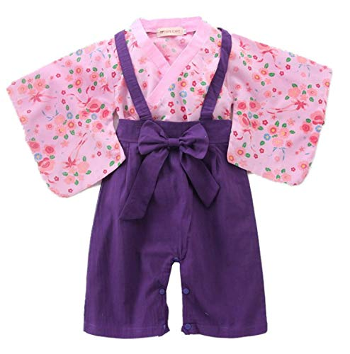 stylesilove Baby Girl Kimono Costume and Straps Pants 2-Piece