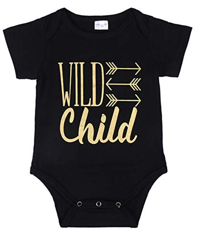 Styles I Love Infant Baby Boys Girls Short Sleeve Wild Child Arrow Printed Cotton Bodysuit Black Unisex Baby Summer Romper