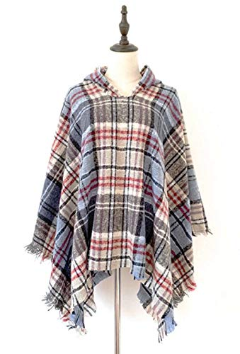 StylesILove Autumn Winter Women Blue Plaid Fringed Hooded Poncho Cardigan Cozy Wrap Jacket