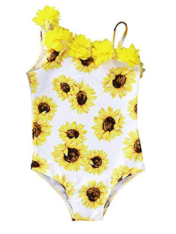 Styles I Love Toddler Kid Girls 3D Sunflower Asymmetrical One-Piece Swimsuit Beach Bathing Swimwear