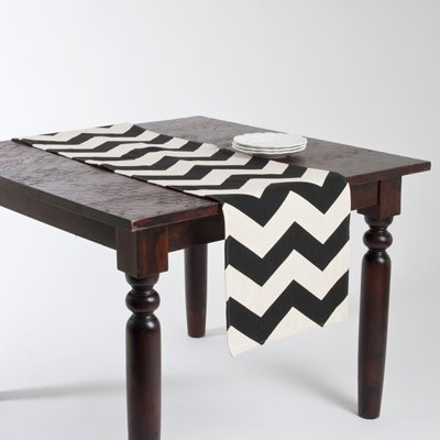 "Fennco Styles Chevron Two Tone Table Runner 16"" W x 72"" L - Black and White Chevron Table Cover for Home, Dining Room Décor, Banquet and Special Occasion"