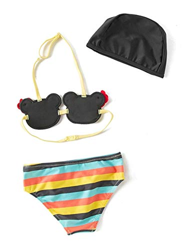 Styles I Love Infant Little Girls Cartoon Bear Striped Bikini Swimsuit and Swim Head 3pcs Set Bathing Suit Beach Swimwear