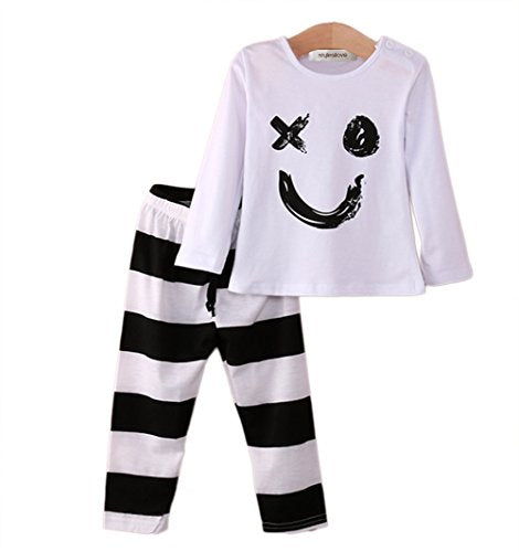 StylesiLove Infant Toddler Young Kids Baby Boy Black and White Naughty Face Tee and Striped Pants