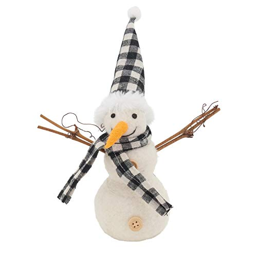 Fennco Styles Handmade Wool Blend Creative Christmas Ornament - Buffalo Plaid Hat Snowman for Christmas Tree Décor, Holiday, Home, Tabletop and Kids Room Decorations