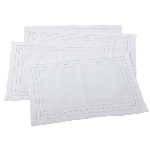 Fennco Handmade Hemstitch and Drawnwork Traycloth Placemat, Set of 4