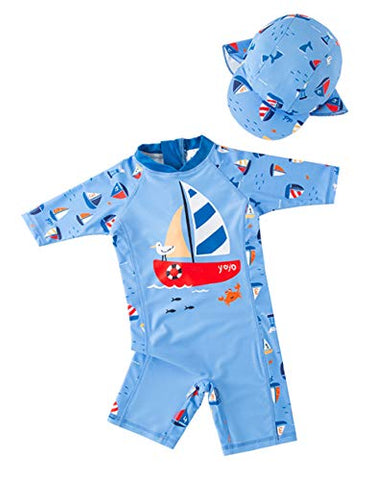 Styles I Love Kid Boys Sailboat One-Piece Rash Guard with Sun Hat 2pcs Swimsuit Pool Swimwear Beach Bathing Suit