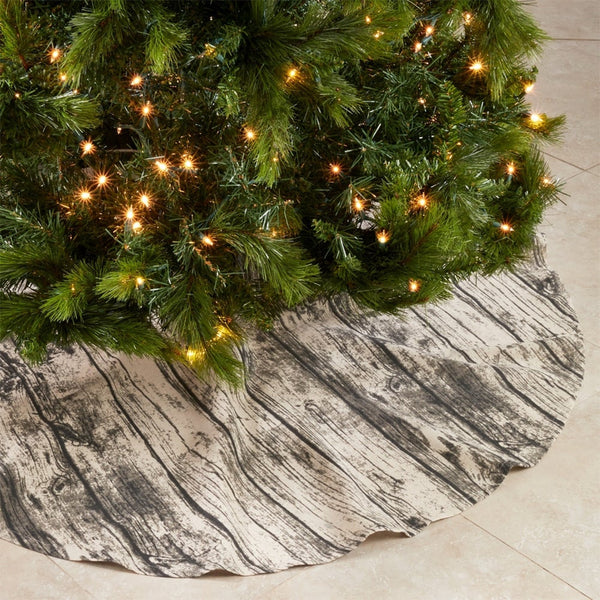 Fennco Styles Country Wood Grain Design Cotton Christmas Tree Skirt 58 x 58 Inch