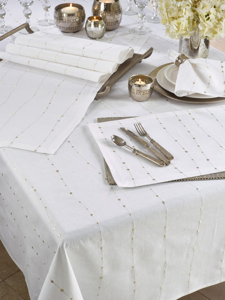 Fennco Styles Modern Silver Embroidery 100% Cotton Tablecloth - White Table Cover for Everyday Use, Dining Room Décor, Wedding, Special Events and Holiday