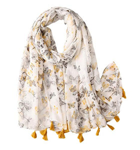 StylesILove Spring Summer Yellow Grey Butterfly Printed Lightweight Tassel Cotton Scarf Wrap Shawl for Women Girls