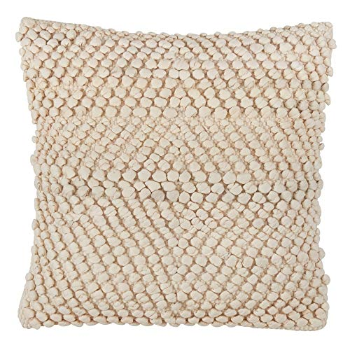 Fennco Styles Knotted Design Down Filled 18 Inch Square Cotton Decorative Throw Pillow