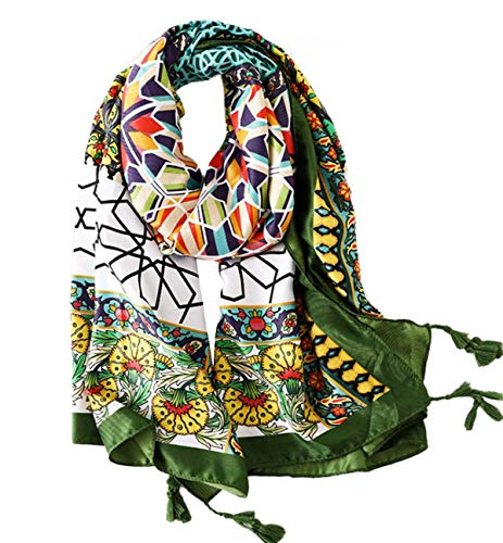 StylesILove Spring Summer Colorful Geometric Floral Printed Lightweight Tassel Scarf Bohemian Wrap Shawl for Women Girls
