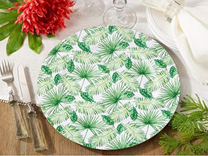 "Fennco Styles Garden Leaves Print Charger Plates 14"" Round, Set of 4"