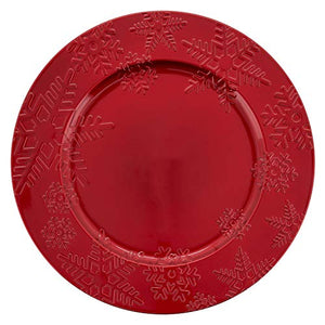 "Fennco Styles Holiday Snowflake Design Decorative Charger Plates 13"" Round, Set of 4"