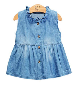 Baby Girl Sleeveless Cotton Denim Dress Spring Summer Casual Outfit