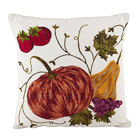 "Fennco Styles Pumpkin Embroidery Thanksgiving Holiday Decorative Cotton 18"" Decorative Throw Pillow"