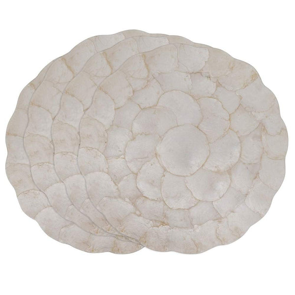Fennco Styles Capiz Shell Scalloped placemat 15 Inches Round - Modern Traycloth Table Mat for Home, Dining Room Décor, Banquets, Indoor & Outdoor and Special Events