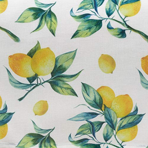 Fennco Styles Lemon & Orange Print 55 x 55 Inch Tablecloth - Multi Color Table Cloth for Home Everyday Use, Kitchen, Banques Décor, Family Gartering and Special Occasion
